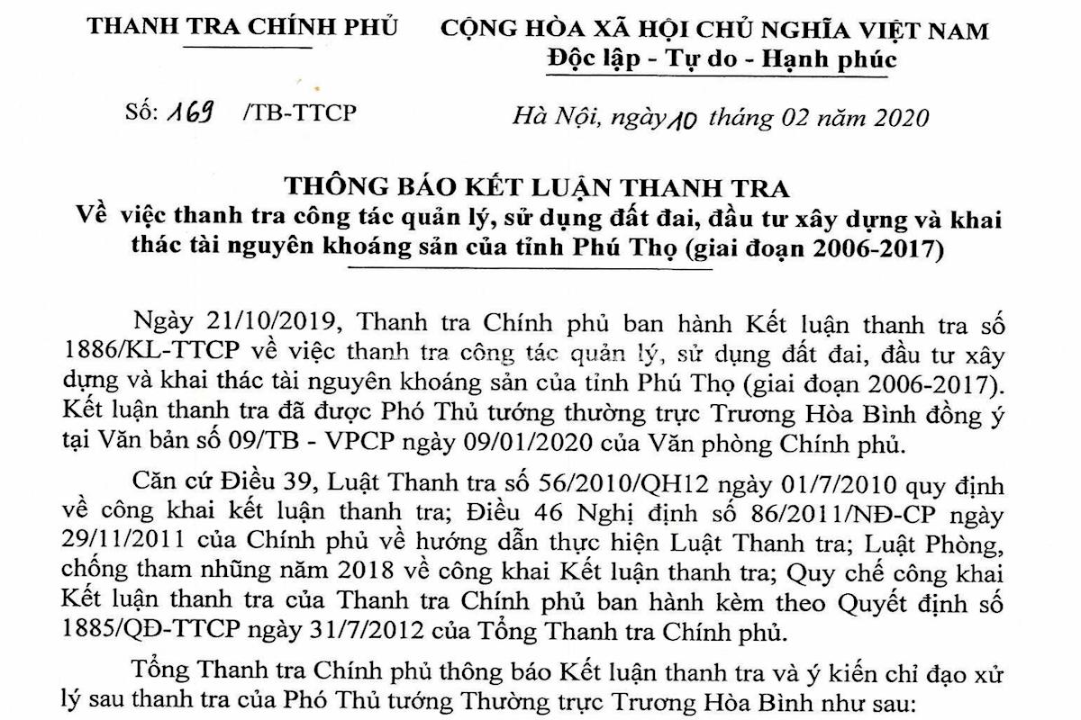 Phú Thọ buông lỏng quản lý đất đai 1