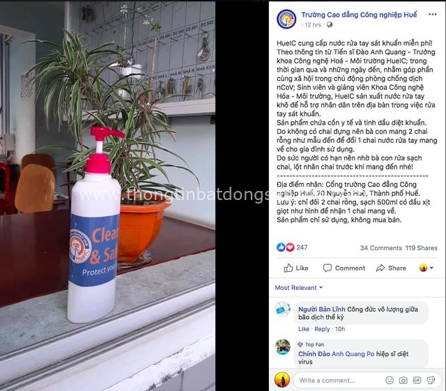 Trường Cao đẳng Công nghiệp Huế sản xuất và cung cấp nước rửa tay khô sát khuẩn miễn phí góp phần phòng chống virus Corona - Ảnh 1.