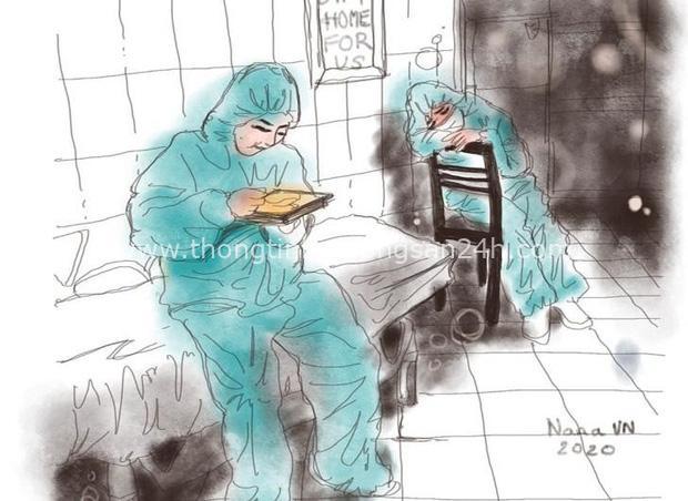 Chùm tranh siêu đẹp mùa dịch: Từ y bác sĩ ăn tranh thủ, ngủ vật vờ đến chiến sĩ làm việc ở khu cách ly - Ảnh 9.