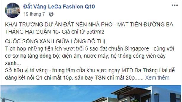TP.HCM cảnh báo dự án 'ma' Lega Fashion 7