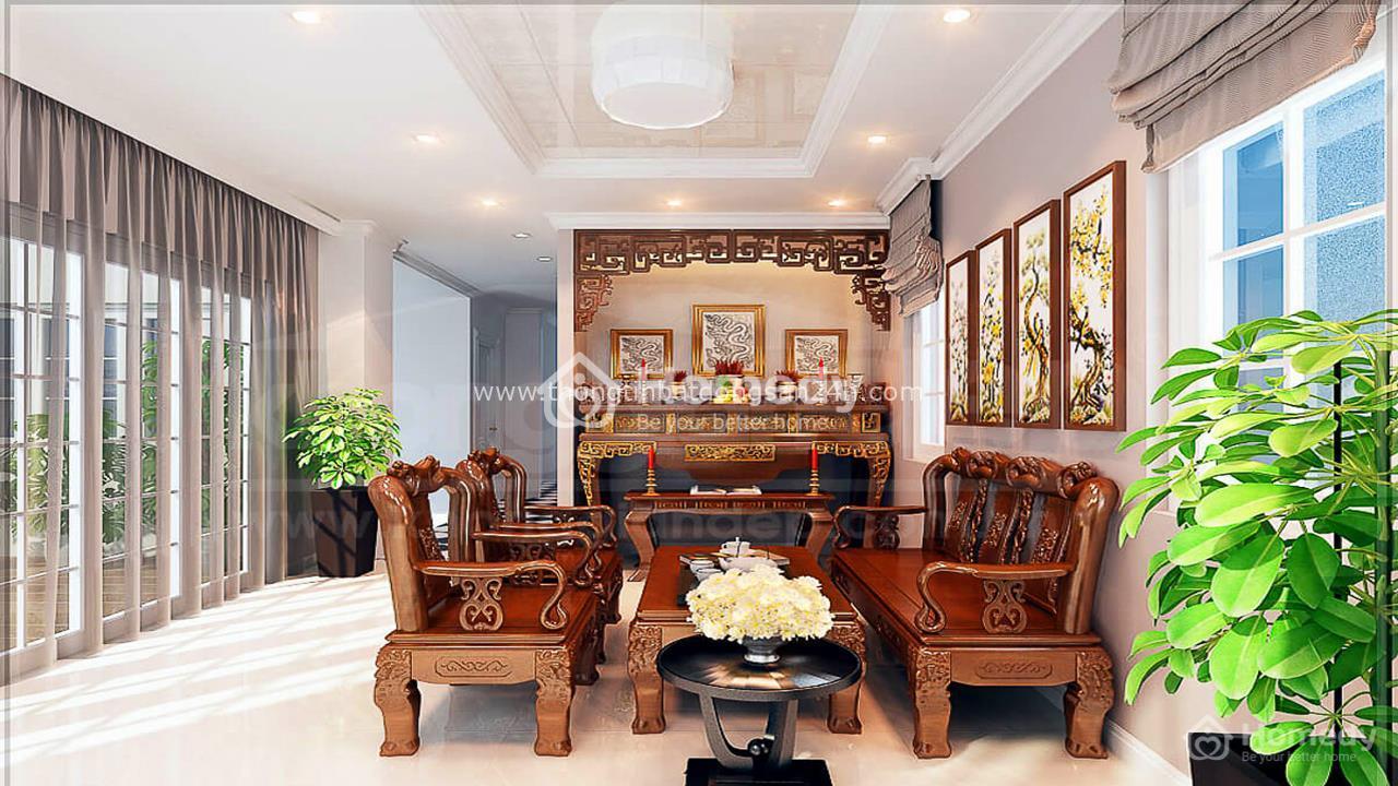 Mẹo trang trí phòng khách có bàn thờ cho nhà ống, căn hộ và biệt thự 11